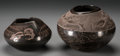 American Indian Art:Pottery, Two Santa Clara Etched Brownware Jars. Jody Folwell. c. 1990... (Total: 2 Items)