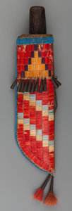 American Indian Art:Beadwork and Quillwork, A Sioux Quilled and Beaded Hide Knife Sheath and Knife . c. 1890...