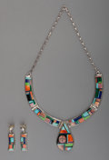 American Indian Art:Jewelry and Silverwork, A Navajo Silver and Stone Jewelry Suite. Frank Yellowhorse. c.1985...
