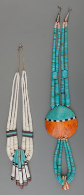 Two Santo Domingo Stone and Shell Necklaces Donald Crespin c. 1975