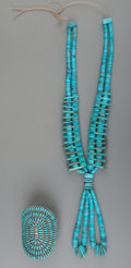 American Indian Art:Jewelry and Silverwork, Two Southwest Turquoise Jewelry Items. c. 1970 and 1980... (Total:2 Items)