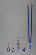 American Indian Art:Jewelry and Silverwork, Six Navajo Gold and Lapis Jewelry Items. c. 1990... (Total: 6Items)
