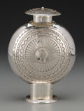 American Indian Art:Jewelry and Silverwork, A Navajo Silver Lidded Urn. Leonard Nez. c. 1990...