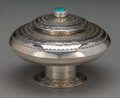 American Indian Art:Jewelry and Silverwork, A Navajo Silver and Turquoise Lidded Urn. Leonard Nez. c. 1990...