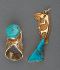 American Indian Art:Jewelry and Silverwork, Two Navajo Gold and Turquoise Jewelry Items. c. 1980... (Total: 2Items)