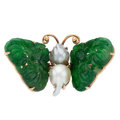 Estate Jewelry:Brooches - Pins, Jadeite Jade, Freshwater Cultured Pearl, Gold Brooch. ...