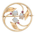 Estate Jewelry:Brooches - Pins, Retro Ruby, Moonstone, Gold Brooch. ...