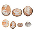 Estate Jewelry:Cameos, Shell Cameo, Gold, Base Metal Jewelry. ... (Total: 7 Items)
