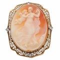 Estate Jewelry:Brooches - Pins, Shell Cameo, Diamond, Gold Pendant-Brooch. ...