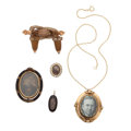 Estate Jewelry:Lots, Victorian Enamel, Cultured Pearl, Gold, Base Metal Mourning Jewelry. ... (Total: 6 Items)