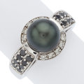Estate Jewelry:Rings, South Sea Cultured Pearl, Colored Diamond, Diamond, White Gold Ring. ...