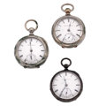 Timepieces:Pocket (pre 1900) , Two Elgin and One Waltham Key Winds. ... (Total: 3 Items)