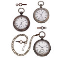 Timepieces:Pocket (pre 1900) , Three Key Winds, Illinois Currier, Hampden Private Label, WalthamWm. Ellery. ... (Total: 3 Items)