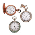 Timepieces:Pocket (post 1900), Three 18 Size Pocket Watches Two Key Wind. ... (Total: 3 Items)
