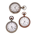 Timepieces:Pocket (post 1900), Waltham & Two Elgin 18 Size Pocket Watches. ... (Total: 3Items)