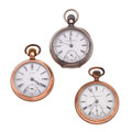 Timepieces:Pocket (post 1900), Two Waltham's & A Hampden 18 Size Pocket Watches. ... (Total: 3 Items)
