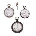 Timepieces:Pocket (pre 1900) , Two Elgin's One Is A B.W. Raymond & A Swiss Key Wind PocketWatches. ... (Total: 3 Items)