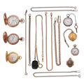 Timepieces:Other , Seven Pocket Watches & Seven Watch Chains. ... (Total: 14Items)