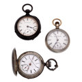 Timepieces:Pocket (post 1900), Two Elgin's & A Swiss 18 Size Pocket Watches. ... (Total: 3 Items)