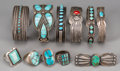 American Indian Art:Jewelry and Silverwork, Eleven Southwest Silver and Stone Jewelry Items . c. 1960...(Total: 11 Items)