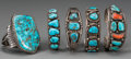 American Indian Art:Jewelry and Silverwork, Five Southwest Silver and Turquoise Bracelets. c. 1970... (Total: 5Items)
