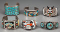American Indian Art:Jewelry and Silverwork, Six Zuni Silver and Turquoise Bracelets. c. 1960. ... (Total: 6Items)