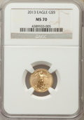 Modern Bullion Coins, 2013 $5 Tenth-Ounce Gold Eagle MS70 NGC. NGC Census: (0). PCGS Population (3816). Numismedia Wsl. Price for problem free N...