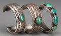 American Indian Art:Jewelry and Silverwork, Three Navajo Silver and Turquoise Bracelets. c. 1960... (Total: 3Items)