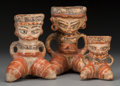 Pre-Columbian:Ceramics, Three Nicaraguan Polychrome Figural Vessels. c. 200 BC - 200 AD...(Total: 3 Items)