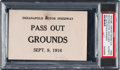 Miscellaneous Collectibles:General, 1916 Harvest Racing Classic (Indianapolis Motor Speedway) Pass OutCredential....