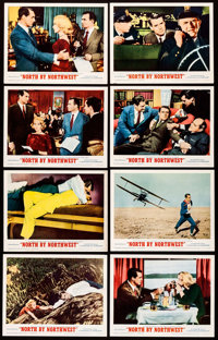 """North by Northwest (MGM, R-1966). Lobby Card Set of 8 (11"""" X 14""""). Hitchcock. ... (Total: 8 Items)"""
