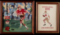 Football Collectibles:Others, 1982 Super Bowl XVI Cross Stitched Original Artwork Lot of 2....