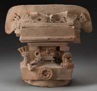 A Large Maya Incensario Pottery Urn Lid c. 400 - 600 AD