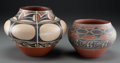 American Indian Art:Pottery, Two Santo Domingo Storage Jars. Robert Tenorio . c. 2001... (Total:2 Items)