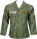 Music Memorabilia:Costumes, Elvis Presley Owned and Worn ARMY Fatigue Shirt (circa 1960)....