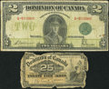 Canadian Currency: , DC-15a 25 Cents 1900. DC-26d $2 1923. ... (Total: 2 notes)