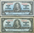 Canadian Currency: , BC-23b $5 1937. BC-23c $5 1937. ... (Total: 2 notes)