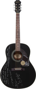 Musical Instruments:Acoustic Guitars, Taj Mahal Signed 2009 Epiphone AJ15EB Black Acoustic Guitar....