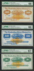 Obsoletes By State:Nevada, Austin, NV- Manhattan Silver Mining Co. $1; $3; $5; $10; $20 187_ Remainders. ... (Total: 5 notes)