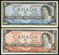 Canadian Currency: , BC-38a $2 1954. BC-39a $5 1954. ... (Total: 2 notes)