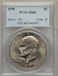 Eisenhower Dollars, 1978 $1 MS66 PCGS. PCGS Population (409/5). NGC Census: (163/5). Mintage: 25,702,000. Numismedia Wsl. Price for problem fre...
