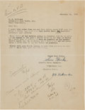 Miscellaneous Collectibles:General, 1938 Sam Hanks Signed Letter....
