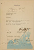 Miscellaneous Collectibles:General, 1933 Harry Hartz Signed Letter....