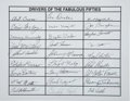 Miscellaneous Collectibles:General, Drivers of the Fabulous Fifties #1 Multi-Signed Sheet....