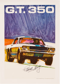 Circa 1968 Shelby GT 350 Poster Signed by Carroll Shelby