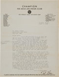 Miscellaneous Collectibles:General, 1939 Ted Horn Signed Letter....