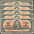 Canadian Currency: , BC-22c $2 1937 Five Examples. ... (Total: 5 notes)