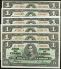 Canadian Currency: , BC-21c. BC-21d $1 1937 Five Examples. ... (Total: 6 notes)