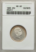 Coins of Hawaii , 1883 25C Hawaii Quarter MS60 ANACS. NGC Census: (6/910). PCGSPopulation (7/1237). Mintage: 242,600. ...