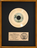 "Music Memorabilia:Awards, Queen ""We Are the Champions"" RIAA Gold Record Sales Award (ElektraE-45441, 1977). ..."